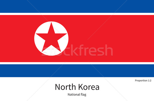 National flag of North Korea with correct proportions, element, colors Stock photo © tkacchuk