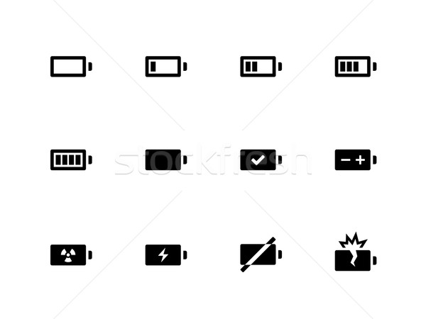 Battery icons on white background. Stock photo © tkacchuk