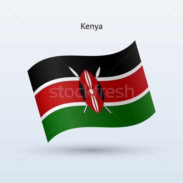 Kenya flag waving form. Vector illustration. Stock photo © tkacchuk