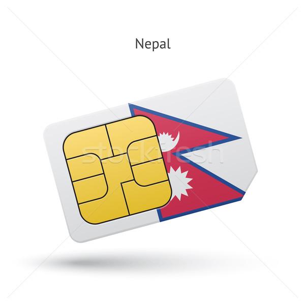 Nepal mobile phone sim card with flag. Stock photo © tkacchuk