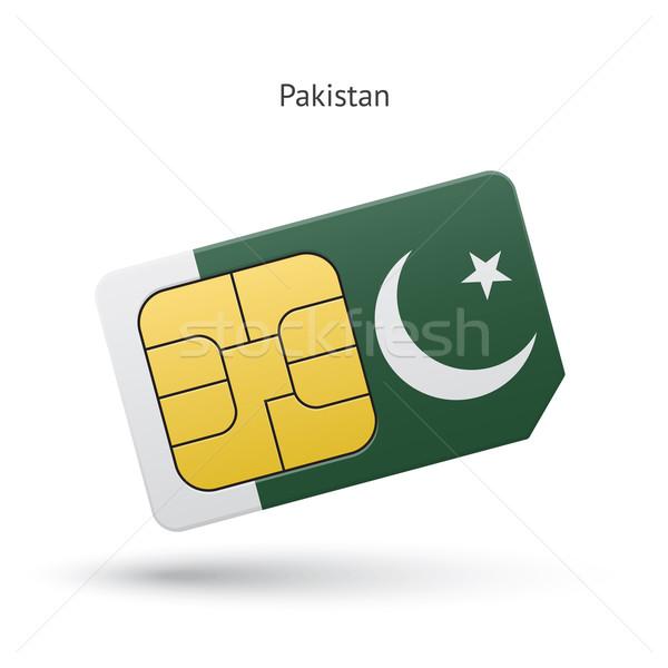 Pakisztán mobiltelefon kártya zászló üzlet terv Stock fotó © tkacchuk