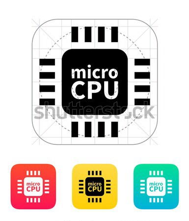 Mikro cpu basit ikon beyaz imzalamak Stok fotoğraf © tkacchuk