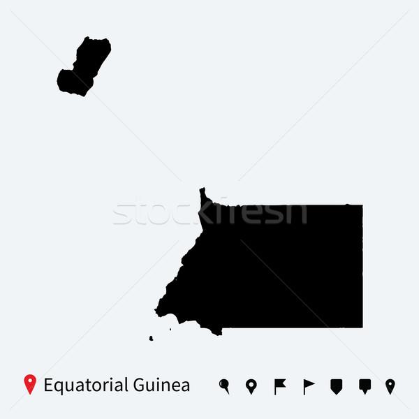 Wysoki szczegółowy wektora Pokaż Gwinea Równikowa nawigacja Zdjęcia stock © tkacchuk