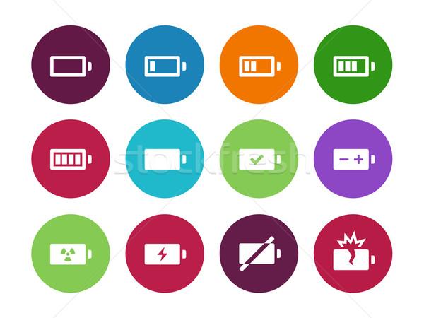 Battery circle icons on white background. Stock photo © tkacchuk