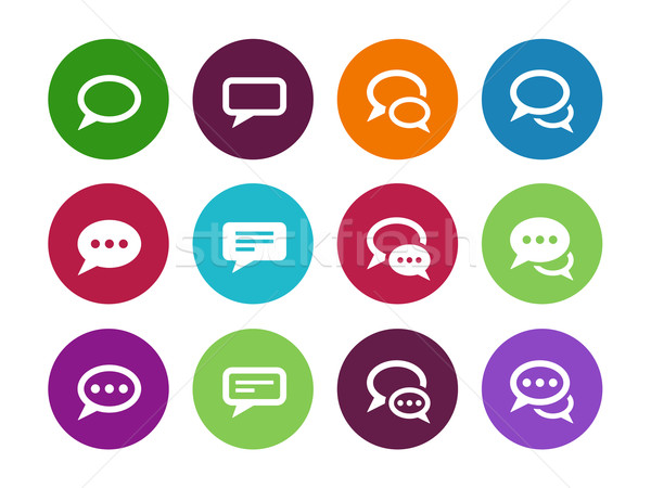 Speech bubble circle icons on white background. Stock photo © tkacchuk