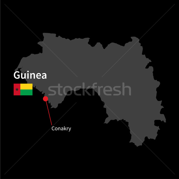 Detailed map of Guinea and capital city Conakry with flag on black background Stock photo © tkacchuk