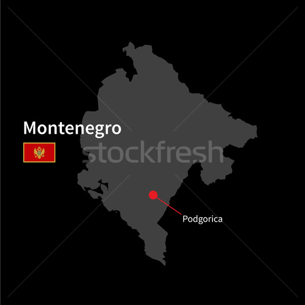 Gedetailleerd kaart Montenegro stad vlag zwarte Stockfoto © tkacchuk