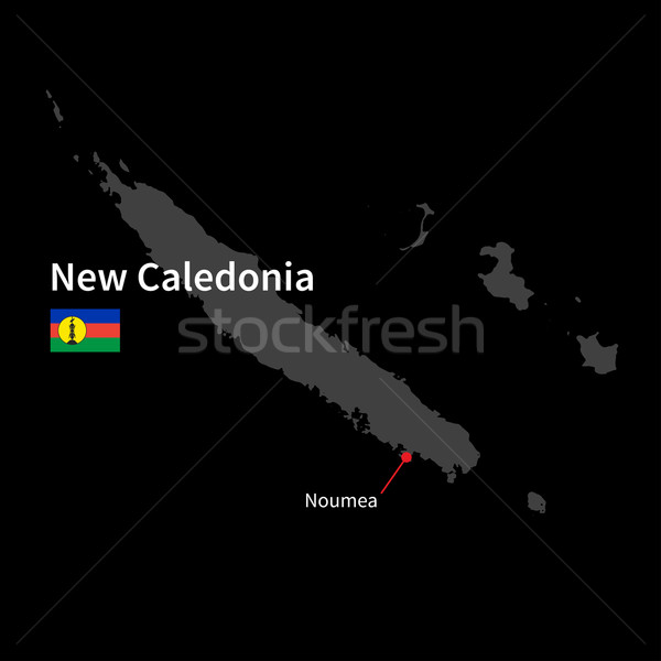 Detailed map of New Caledonia and capital city Noumea with flag on black background Stock photo © tkacchuk