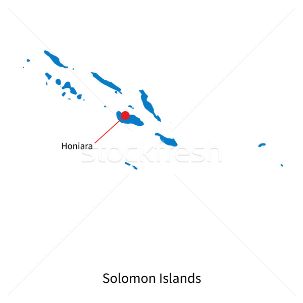 Detailed vector map of Solomon Islands and capital city Honiara Stock photo © tkacchuk