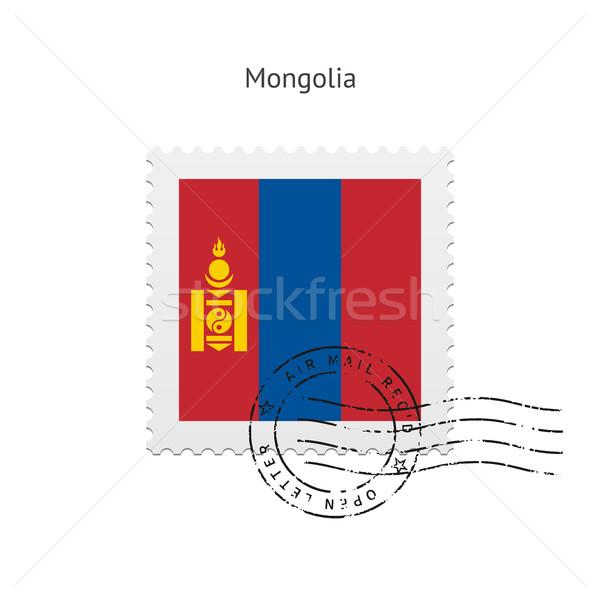 Монголия флаг почтовая марка белый знак письме Сток-фото © tkacchuk