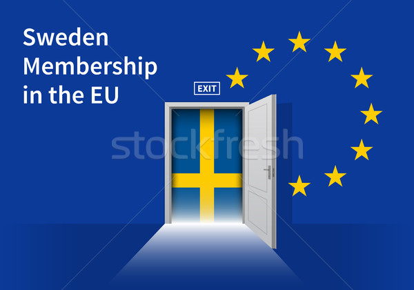 European Union flag wall with Sweden flag door. EU Flag. Stock photo © tkacchuk