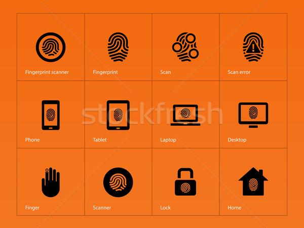 отпечатков пальцев иконки оранжевый стороны телефон безопасности Сток-фото © tkacchuk