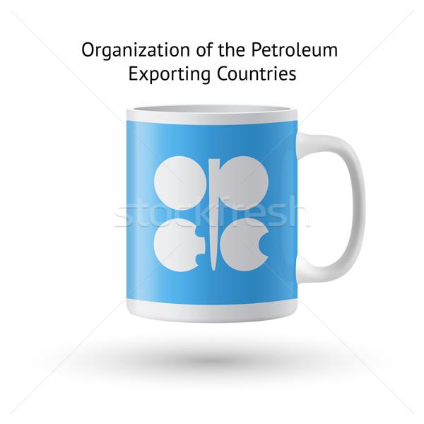 Organizacja ropa naftowa kraje banderą pamiątka kubek Zdjęcia stock © tkacchuk