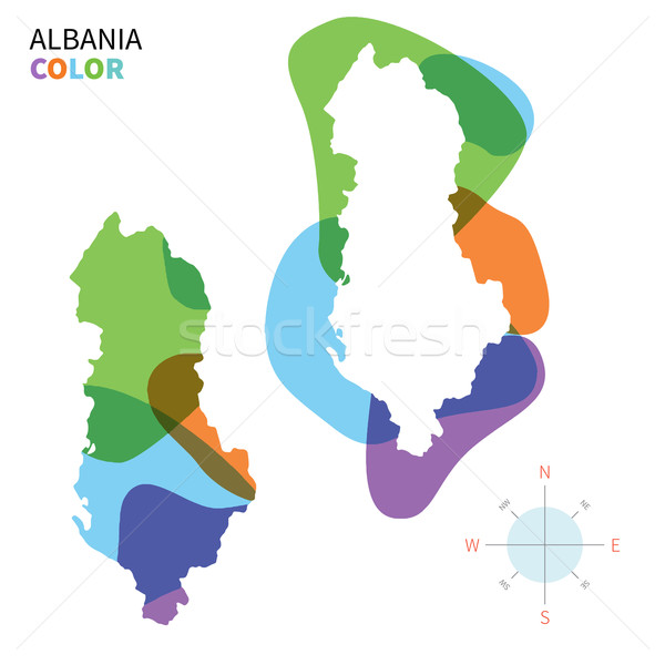 Abstract vector color map of Albania with transparent paint effect. Stock photo © tkacchuk