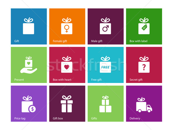 Present Box on color background. Stock photo © tkacchuk