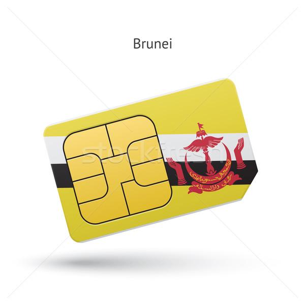 Brunei telefonu komórkowego karty banderą działalności projektu Zdjęcia stock © tkacchuk