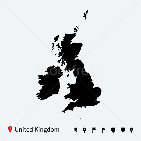 Stok fotoğraf: Yüksek · ayrıntılı · vektör · harita · Büyük · Britanya · navigasyon