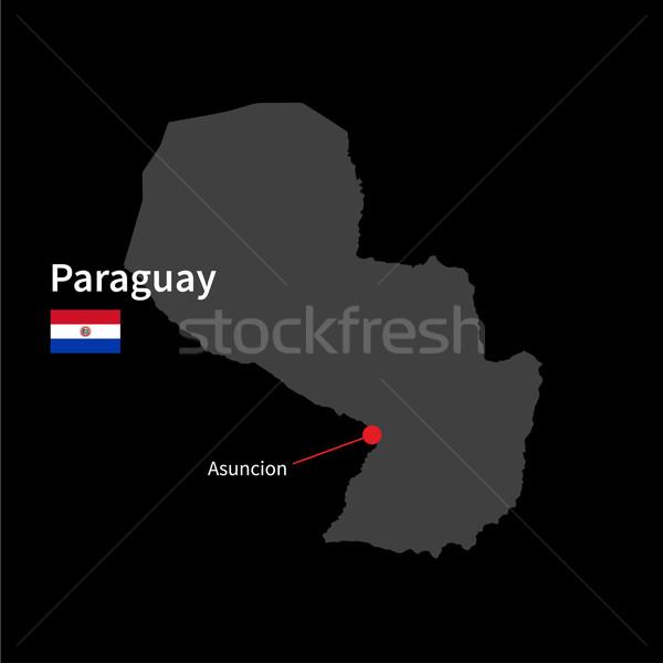 Szczegółowy Pokaż Paragwaj miasta banderą czarny Zdjęcia stock © tkacchuk