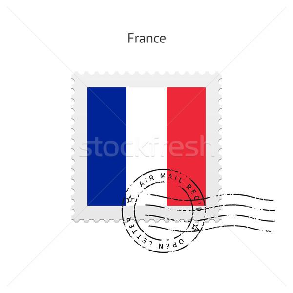 Franciaország zászló postabélyeg fehér felirat levél Stock fotó © tkacchuk
