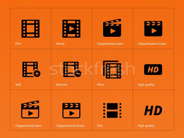 Foto stock: Vídeo · ícones · laranja · filme · assinar · filme