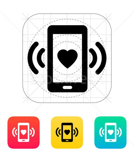 Stock photo: Romantic phone call icon.