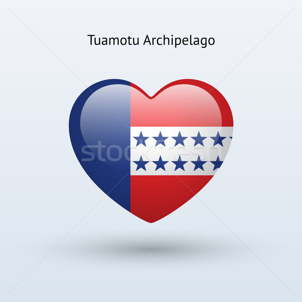 Love Tuamotu Archipelago symbol. Heart flag icon. Stock photo © tkacchuk