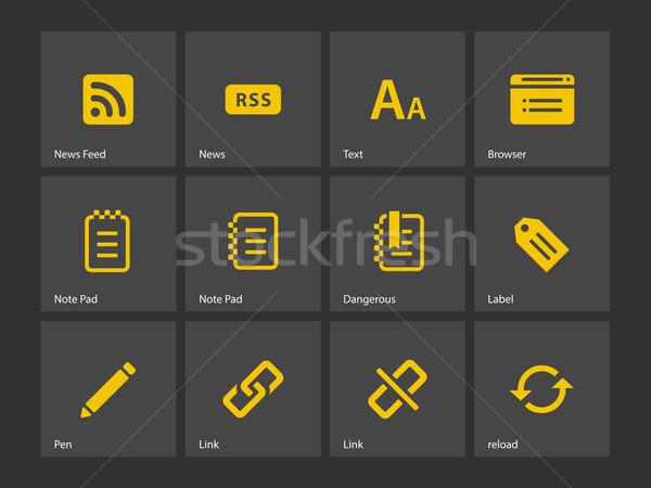 Blogger icônes stylo design écrit jaune Photo stock © tkacchuk