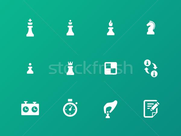 шахматам стратегия иконки зеленый спорт замок Сток-фото © tkacchuk