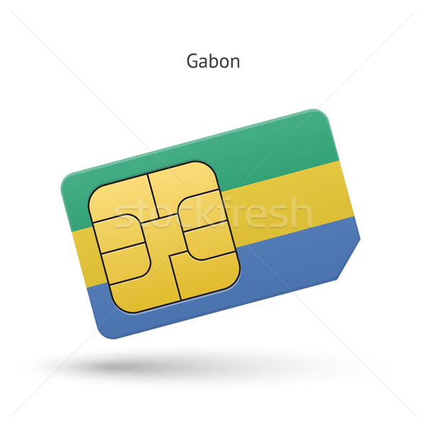 Gabon mobile phone sim card with flag. Stock photo © tkacchuk