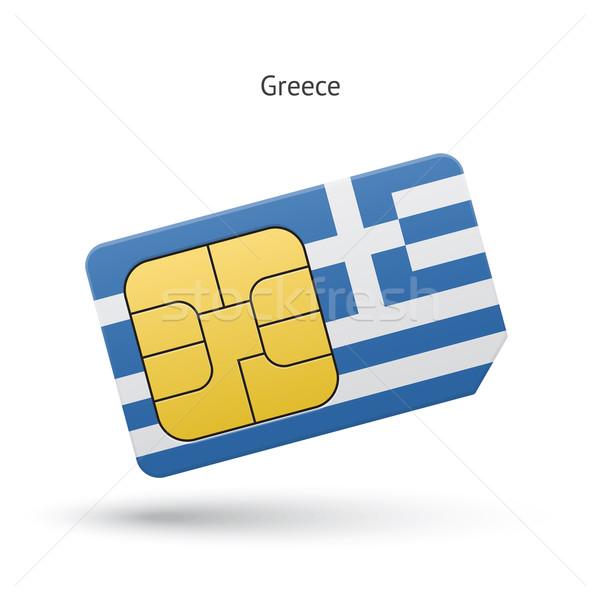 Yunanistan cep telefonu kart bayrak iş dizayn Stok fotoğraf © tkacchuk