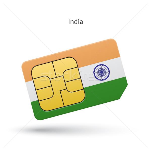India mobile phone sim card with flag. Stock photo © tkacchuk
