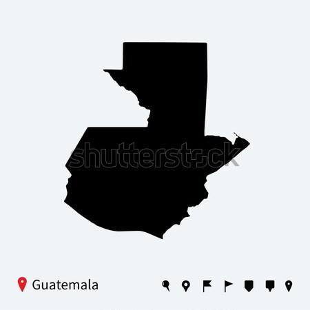 High detailed vector map of Guatemala with navigation pins. Stock photo © tkacchuk