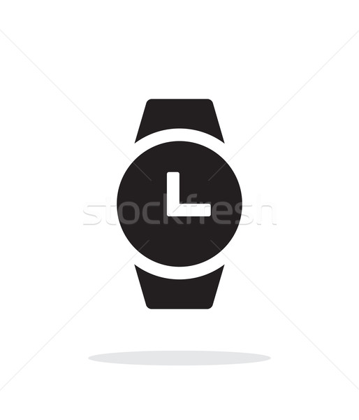 Time on round smart watch simple icon on white background. Stock photo © tkacchuk