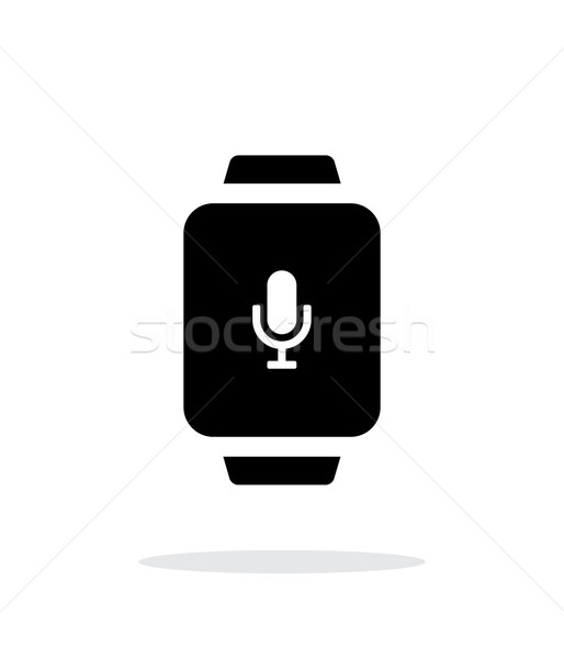 Mikrofon akıllı izlemek basit ikon beyaz Stok fotoğraf © tkacchuk