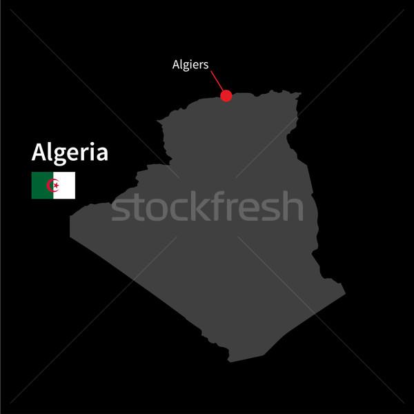 Détaillée carte Algérie ville pavillon noir Photo stock © tkacchuk