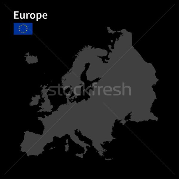 Gedetailleerd kaart Europa vlag zwarte stad Stockfoto © tkacchuk