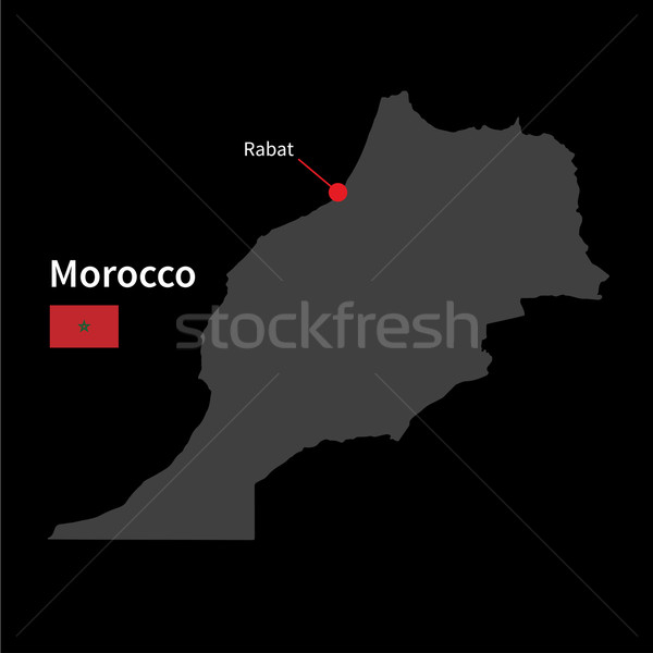 Detailed map of Morocco and capital city Rabat with flag on black background Stock photo © tkacchuk