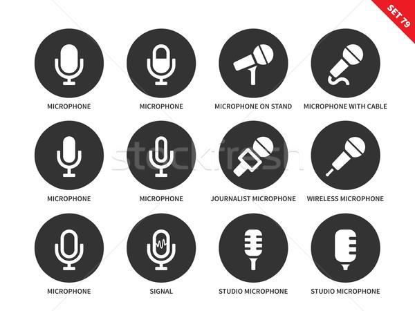 Microphone icons on white background Stock photo © tkacchuk