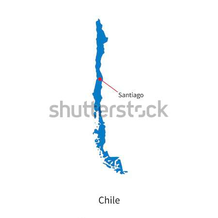 Detailed vector map of Chile and capital city Santiago Stock photo © tkacchuk