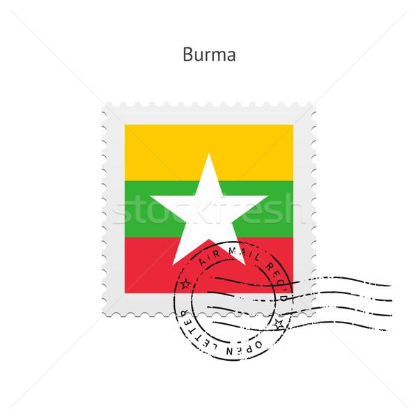 Burma zászló postabélyeg fehér felirat levél Stock fotó © tkacchuk