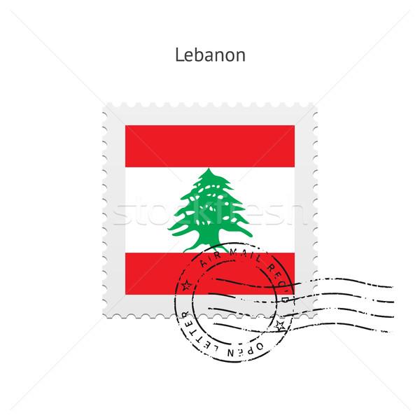 Libanon zászló postabélyeg fehér felirat levél Stock fotó © tkacchuk
