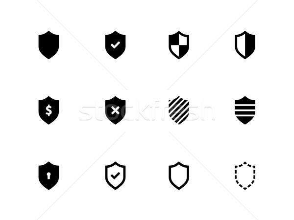 Shield icons on white background. Stock photo © tkacchuk