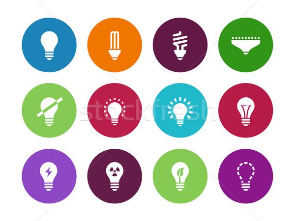 Light bulb and CFL lamp circle icons. Stock photo © tkacchuk
