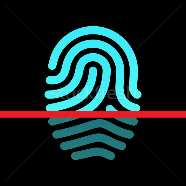 Fingerprint identification system - loop type icon. Stock photo © tkacchuk