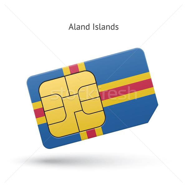 Aland Islands mobile phone sim card with flag. Stock photo © tkacchuk