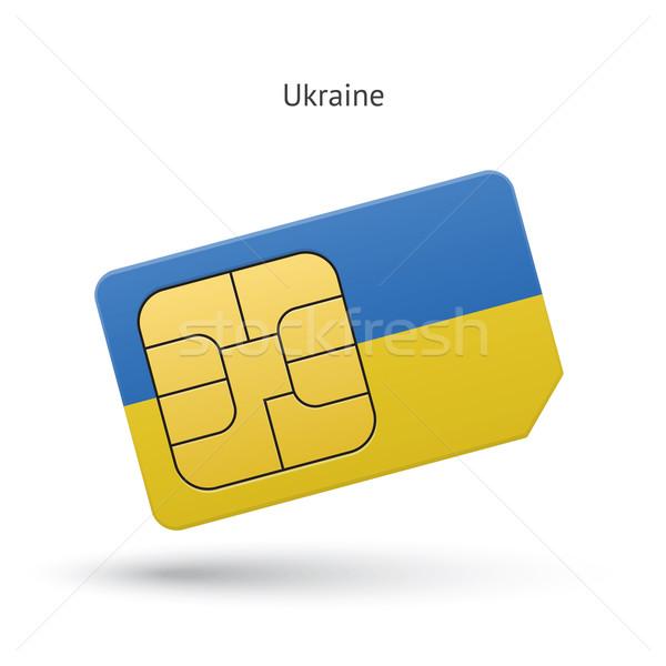 Ukrayna cep telefonu kart bayrak iş dizayn Stok fotoğraf © tkacchuk