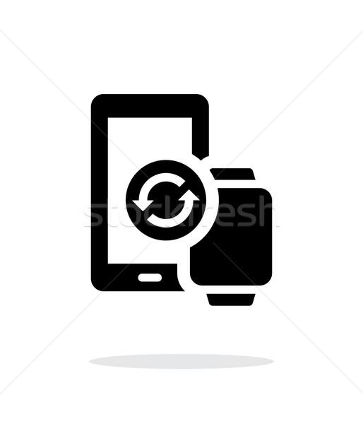 Smart watch with phone synchronization simple icon on white background. Stock photo © tkacchuk