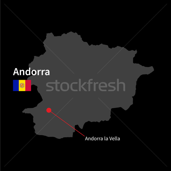 Detailed map of Andorra and capital city Andorra la Vella with flag on black background Stock photo © tkacchuk