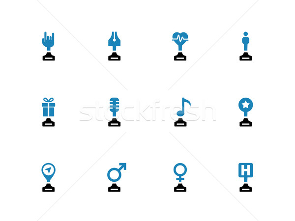 Sport awards and trophies duotone icons on white background. Stock photo © tkacchuk