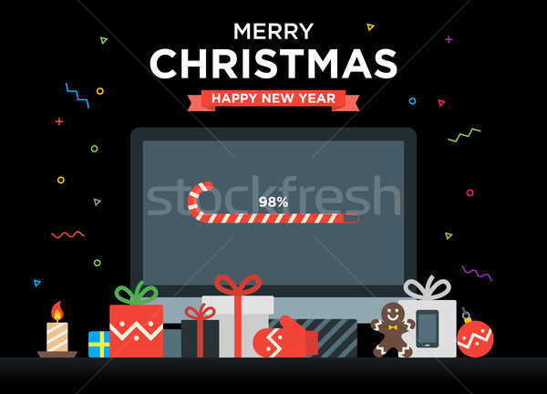 Geek Happy New Year and Christmas Card with abstract loading bar on Computer, Gifts, candy, candle Stock photo © tkacchuk